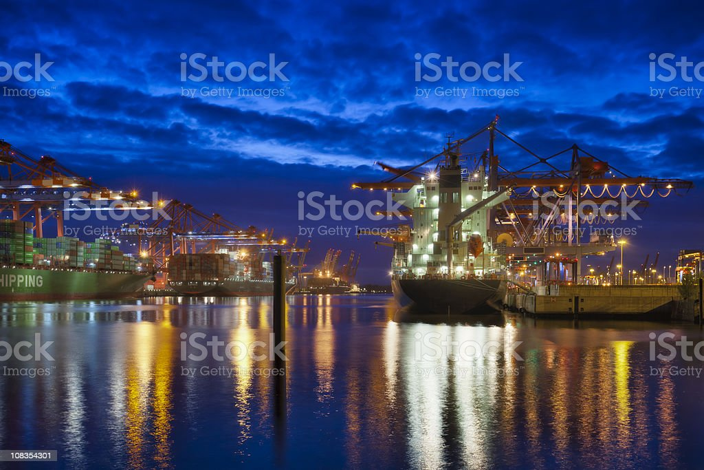 Hamburg Habour by Night / Eurokai royalty-free stock photo