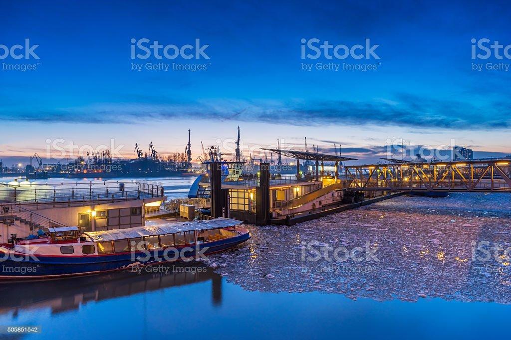 Hamburg harbor in winter. stock photo