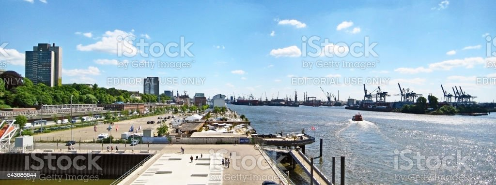 Hamburg harbor / port panorama, Germany stock photo