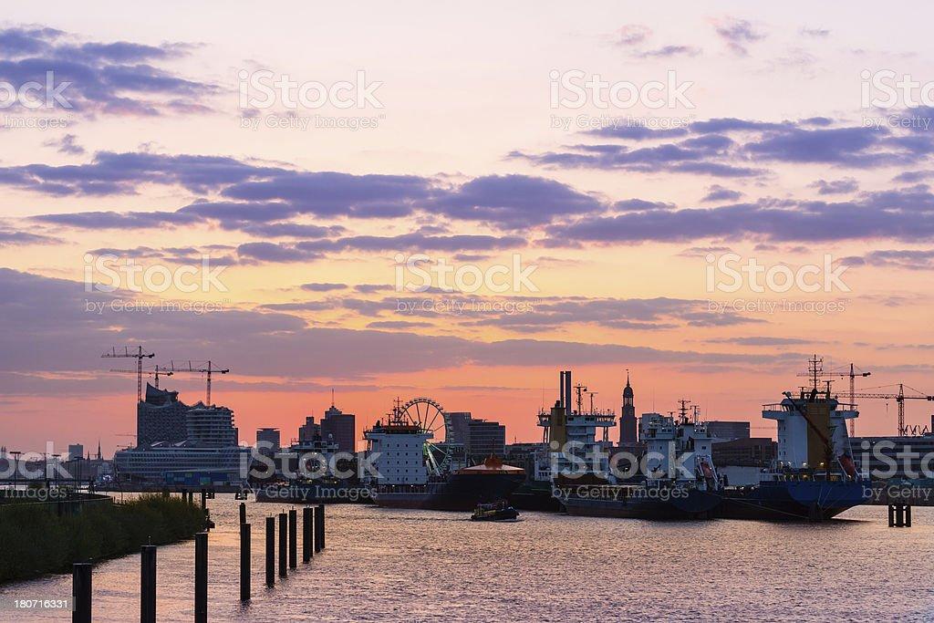 Hamburg harbor skyline royalty-free stock photo