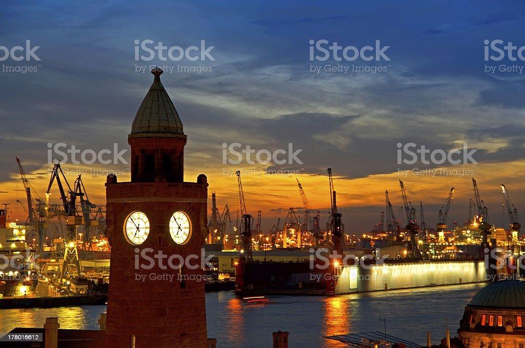 hamburg harbor sunset stock photo