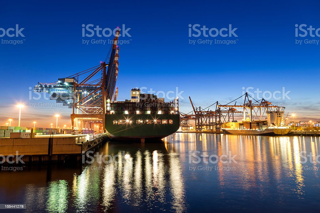 Hamburg Harbour, Cargo Terminal royalty-free stock photo
