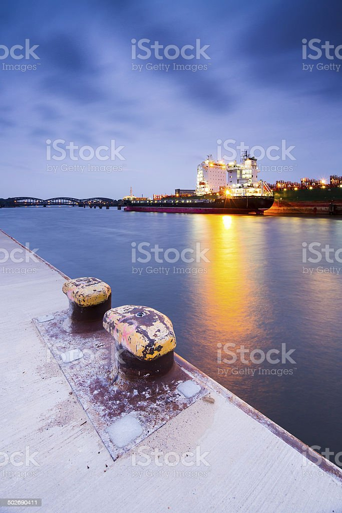 Hamburg Harbour, cargo vessel stock photo
