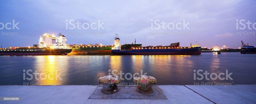 Hamburg Harbour, cargo vessel stock photo