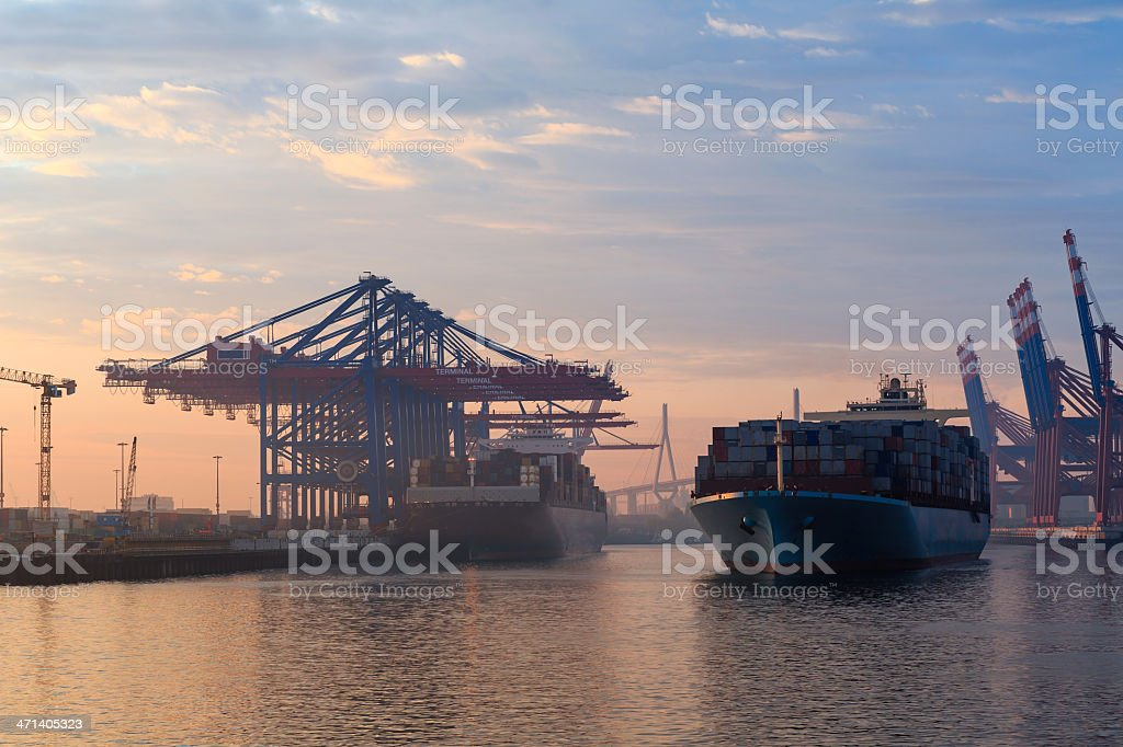 Hamburg Harbour Container Terminal royalty-free stock photo