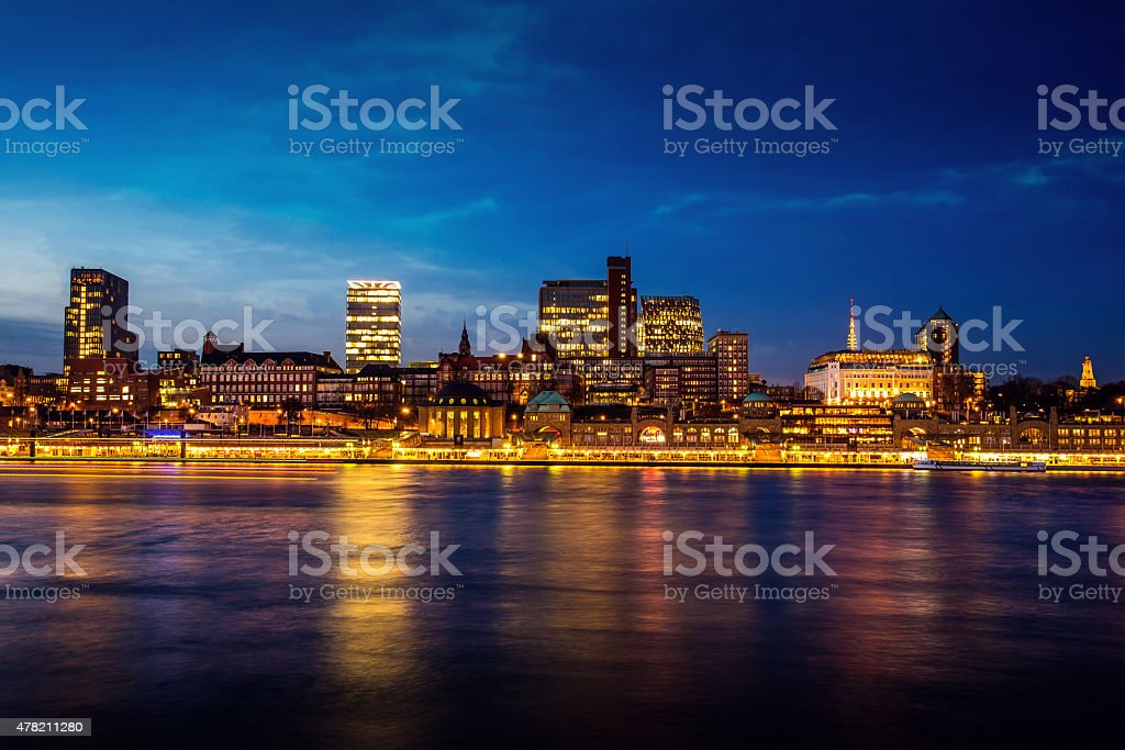 Hamburg harbour, Elbe river. stock photo