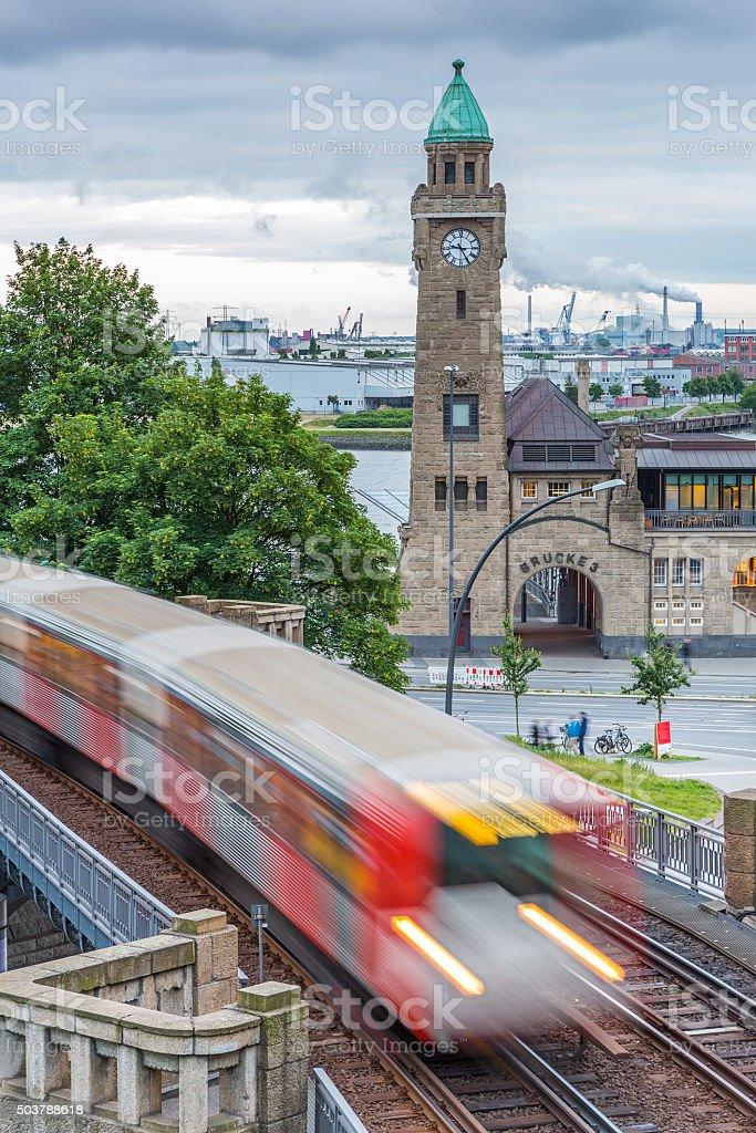 Hamburg harbour, Elbe river stock photo