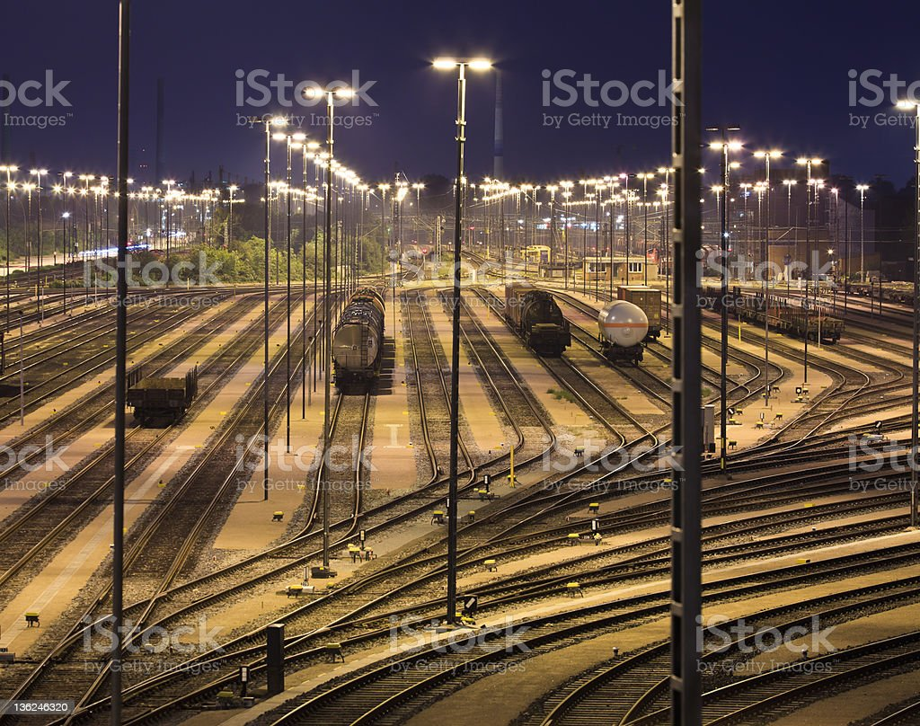 Hamburg harbour, Freight Trains and Railways royalty-free stock photo