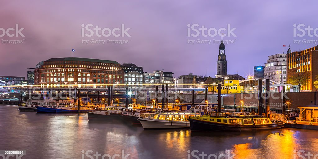 Hamburg harbour, Michel stock photo