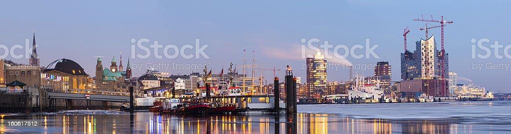 Hamburg harbour on ice, Elbe river, 57MPx stock photo