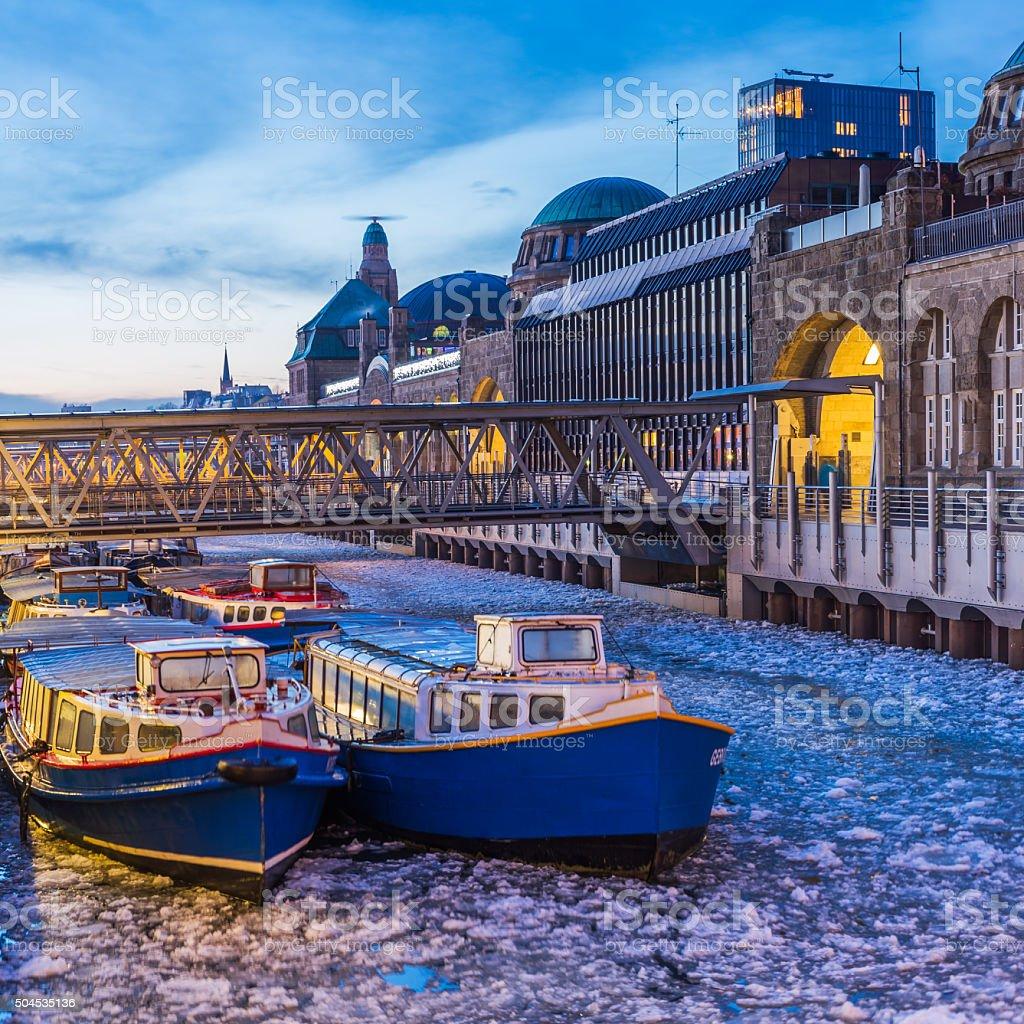 Hamburg harbour on ice stock photo