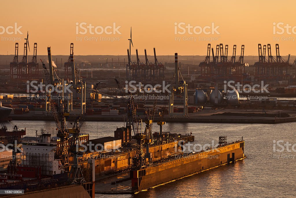 Hamburg harbour, shipyard in the evening stock photo