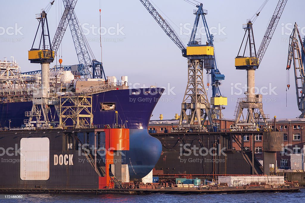 Hamburg harbour - shipyard stock photo