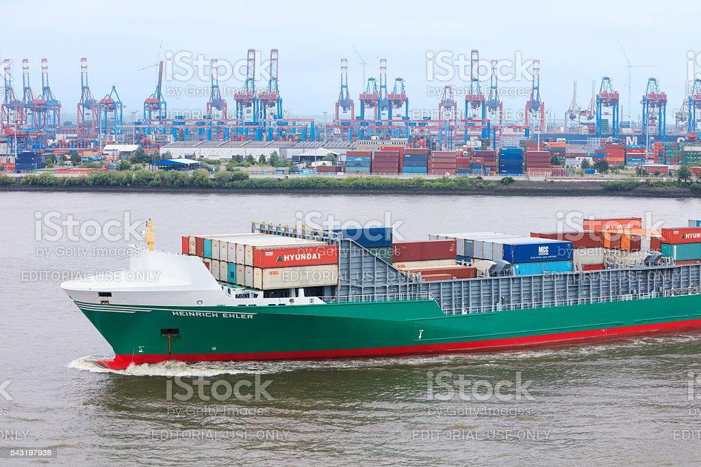Hamburg industrial seascape, Germany stock photo