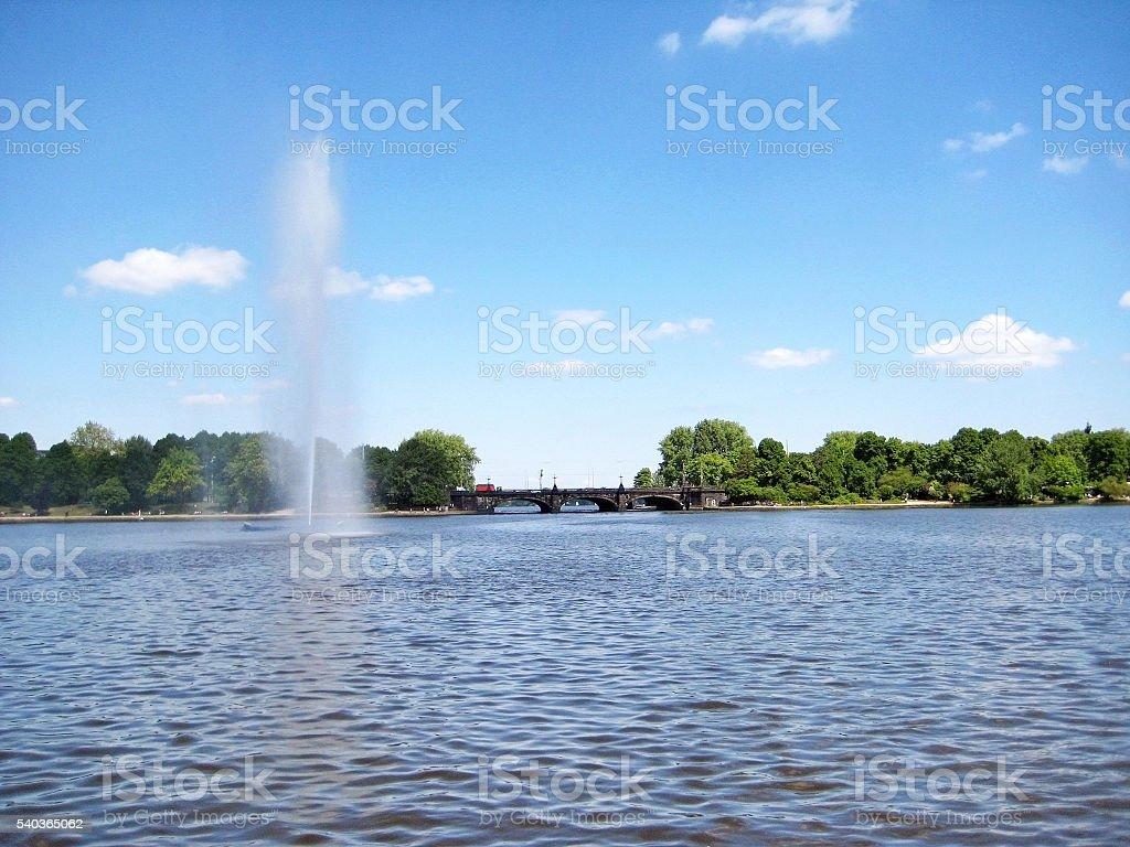 Hamburg lake Binnenalster fountain, Germany stock photo