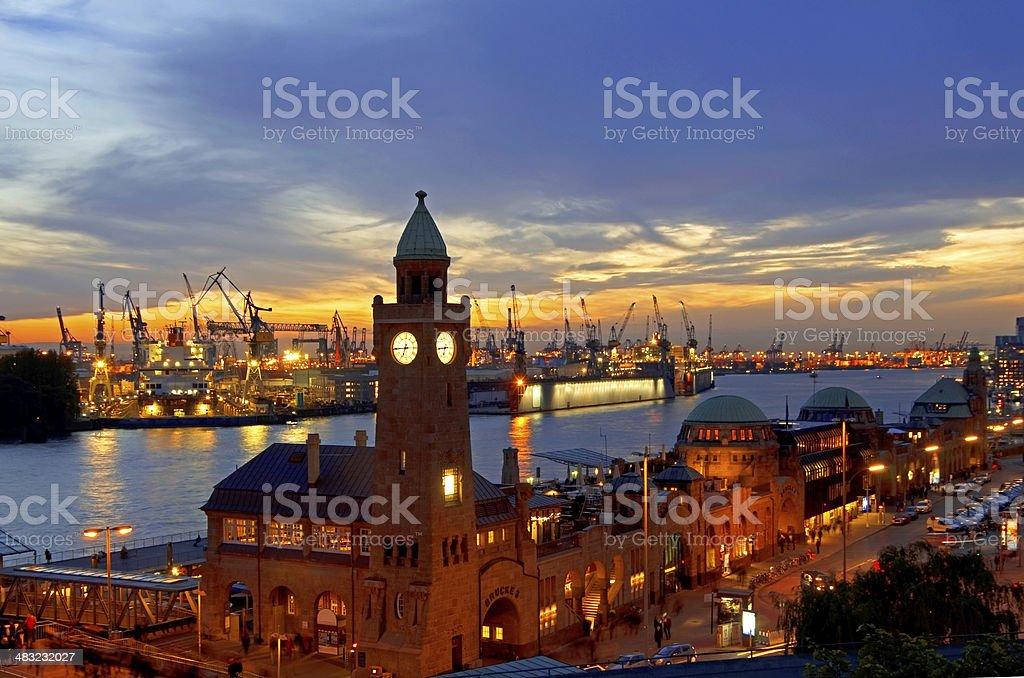 Hamburg Landungsbruecken sunset  RF stock photo