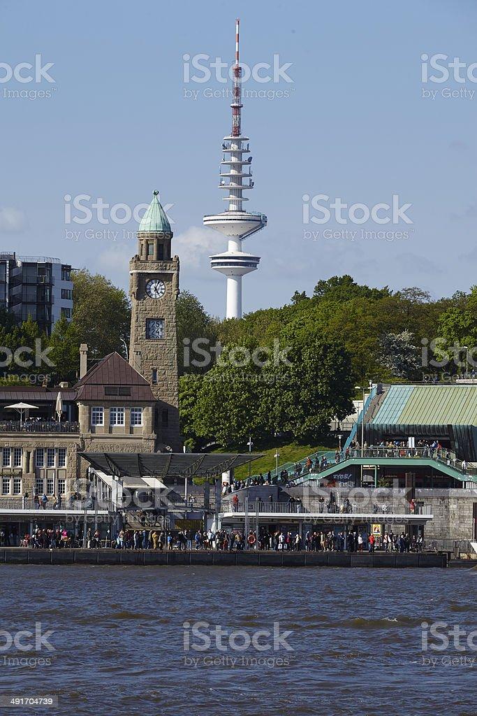 Hamburg - Port with old St. Pauli jetties stock photo
