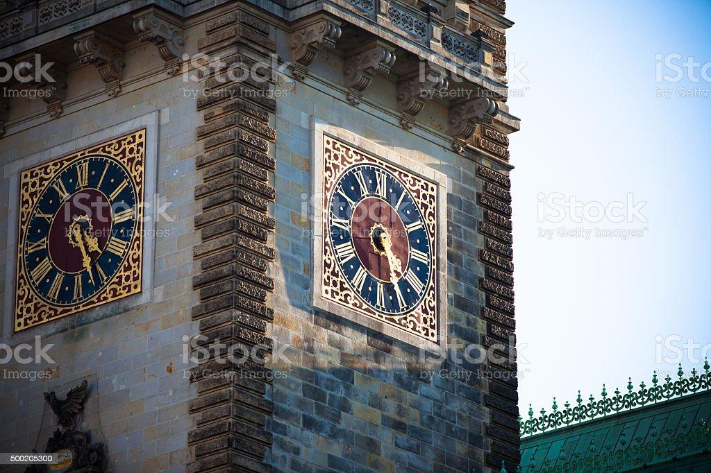 Hamburg Rathaus Clock Tower stock photo