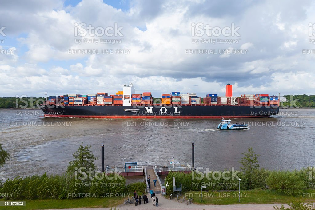 Hamburg, River Elbe with container ship stock photo