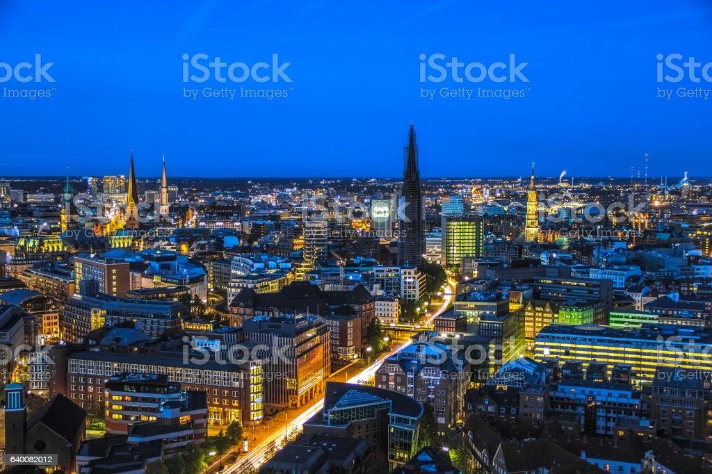 Hamburg seen from the St. Michaels Church stock photo