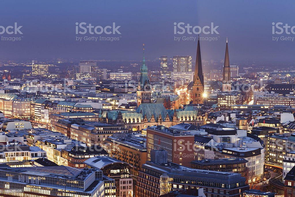 Hamburg skyline at night, town hall, cityscape stock photo