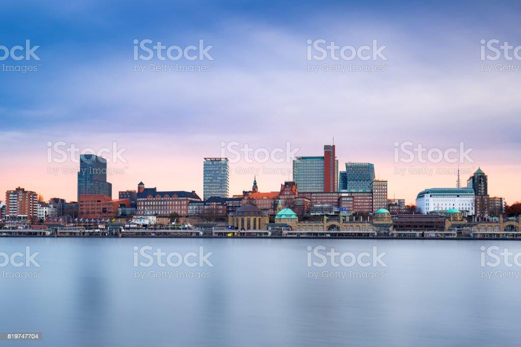 Hamburg Skyline , Port of Hamburg, St. Pauli Landing Bridges. stock photo