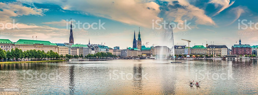 Hamburg skyline with Binnenalster (Inner Alster Lake) at sunset, Germany stock photo