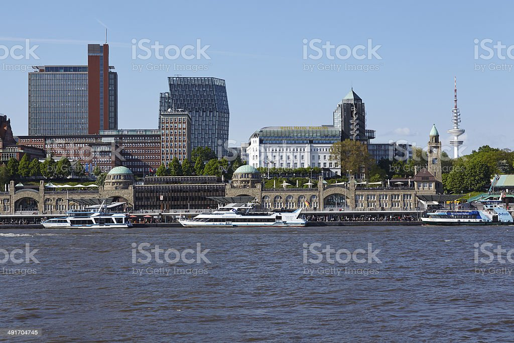 Hamburg - Skyline with jetties stock photo