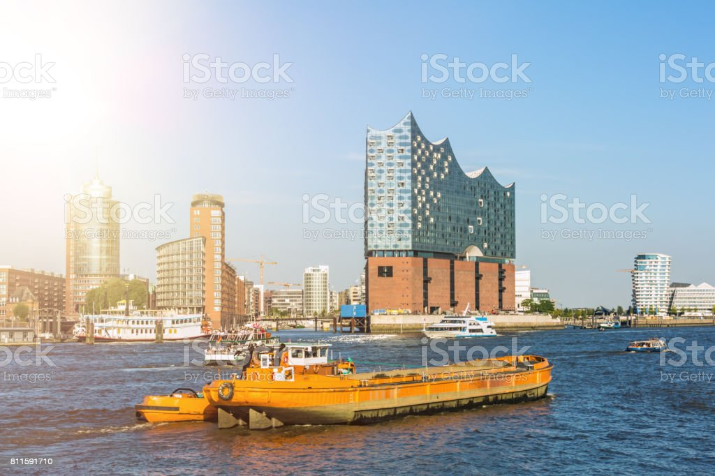 Hamburg Skyline with Landungsbrücken and Elbphilharmonie stock photo