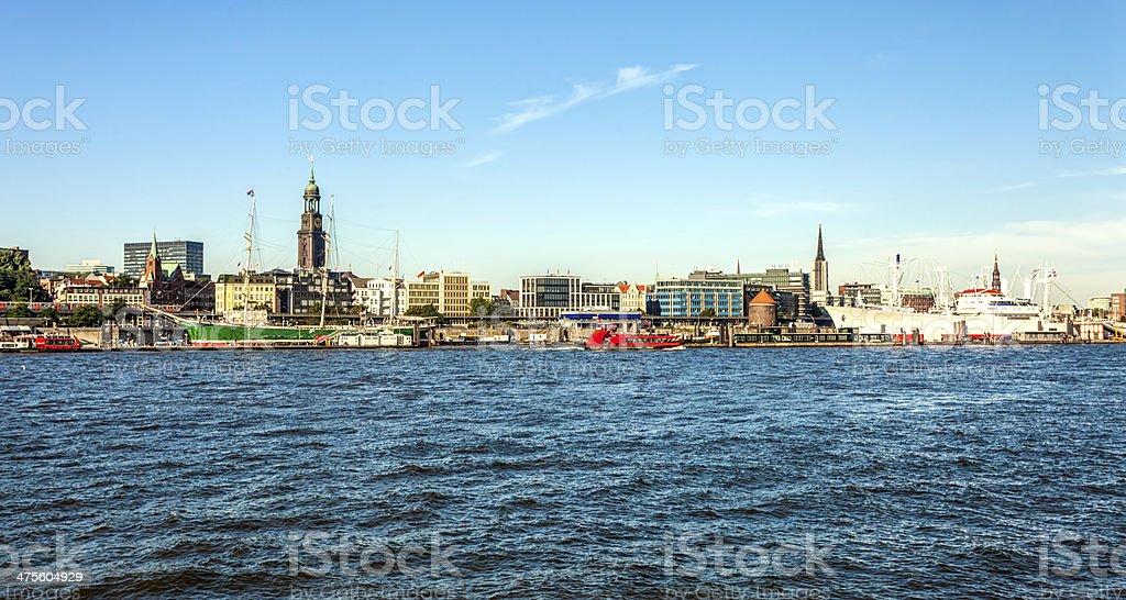 Hamburg skyline with Landungsbr?cken stock photo