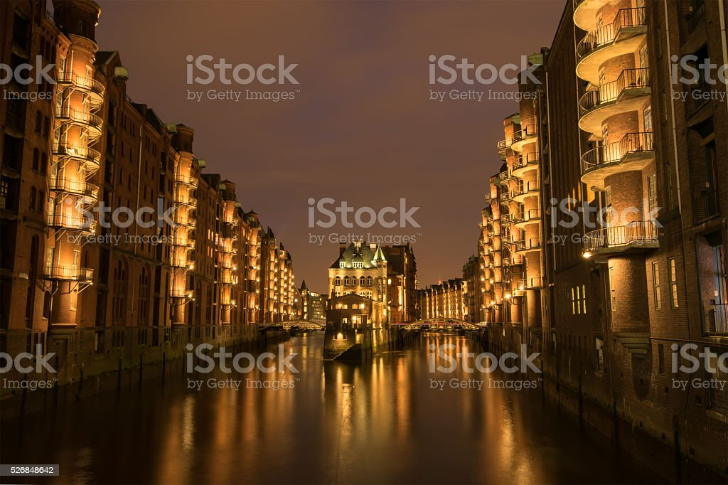 Hamburg Speicherstadt in the evening stock photo