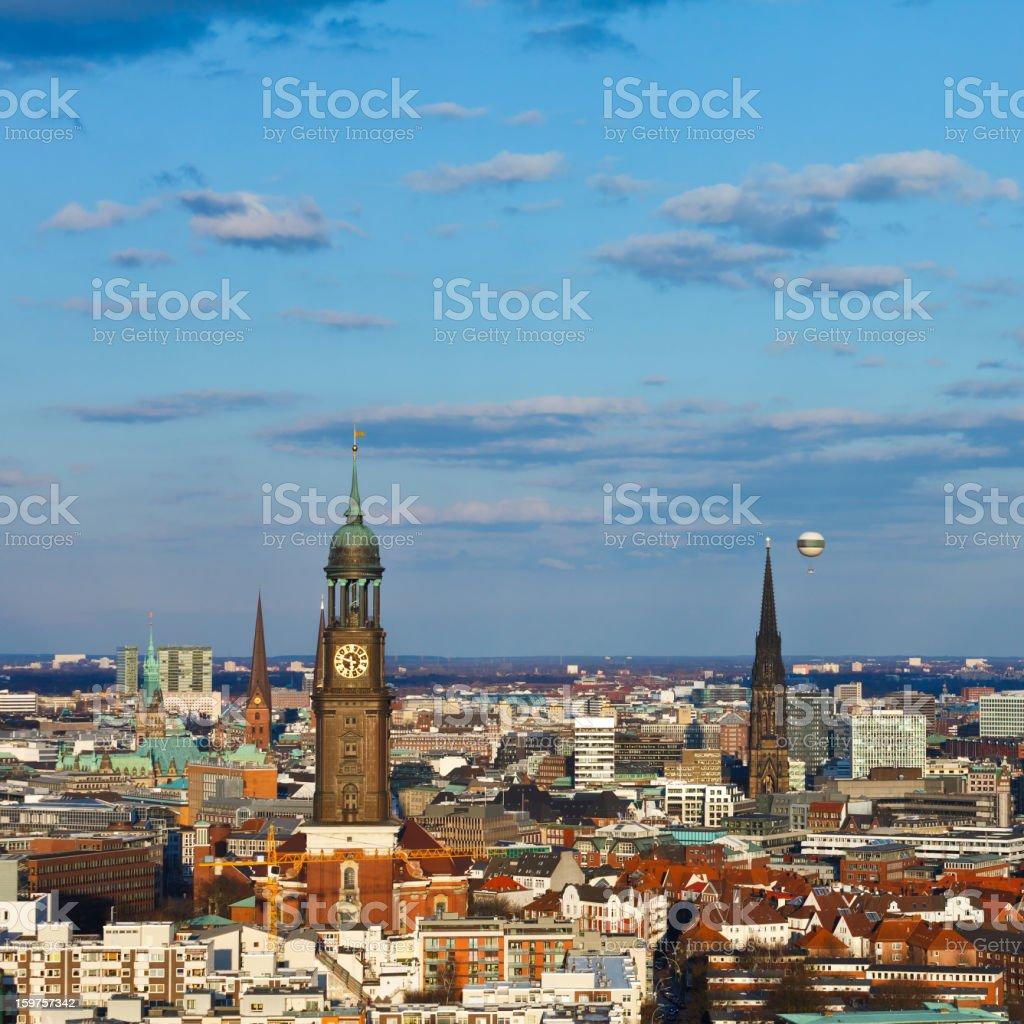 Hamburg, St. Michaelis church, town hall stock photo