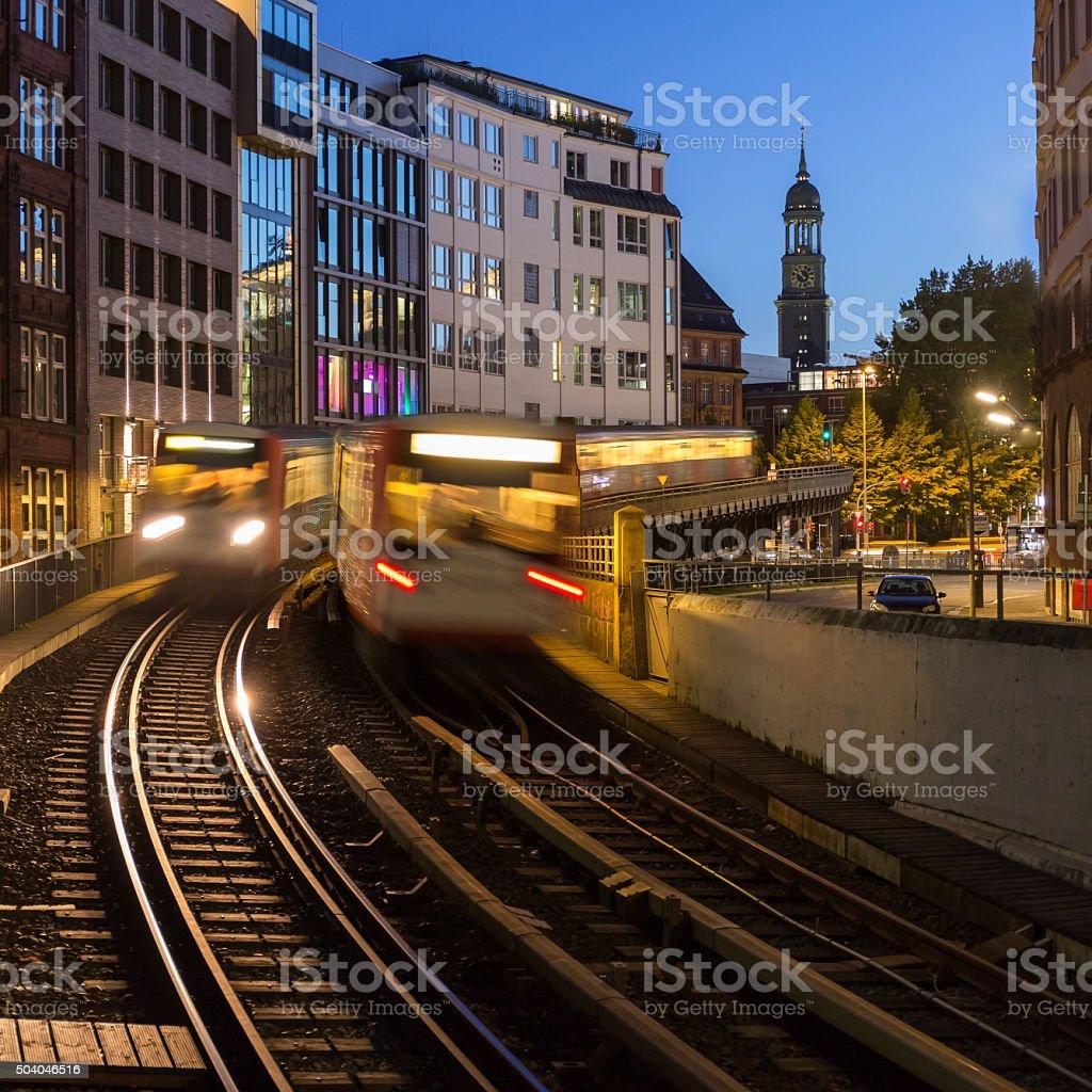 Hamburg - Subway an Michel stock photo