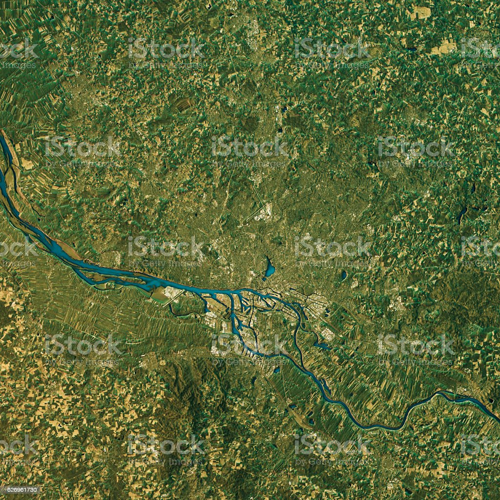 Hamburg Topographic Map Natural Color Top View stock photo
