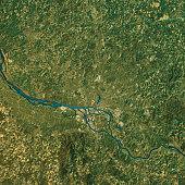 Hamburg Topographic Map Natural Color Top View