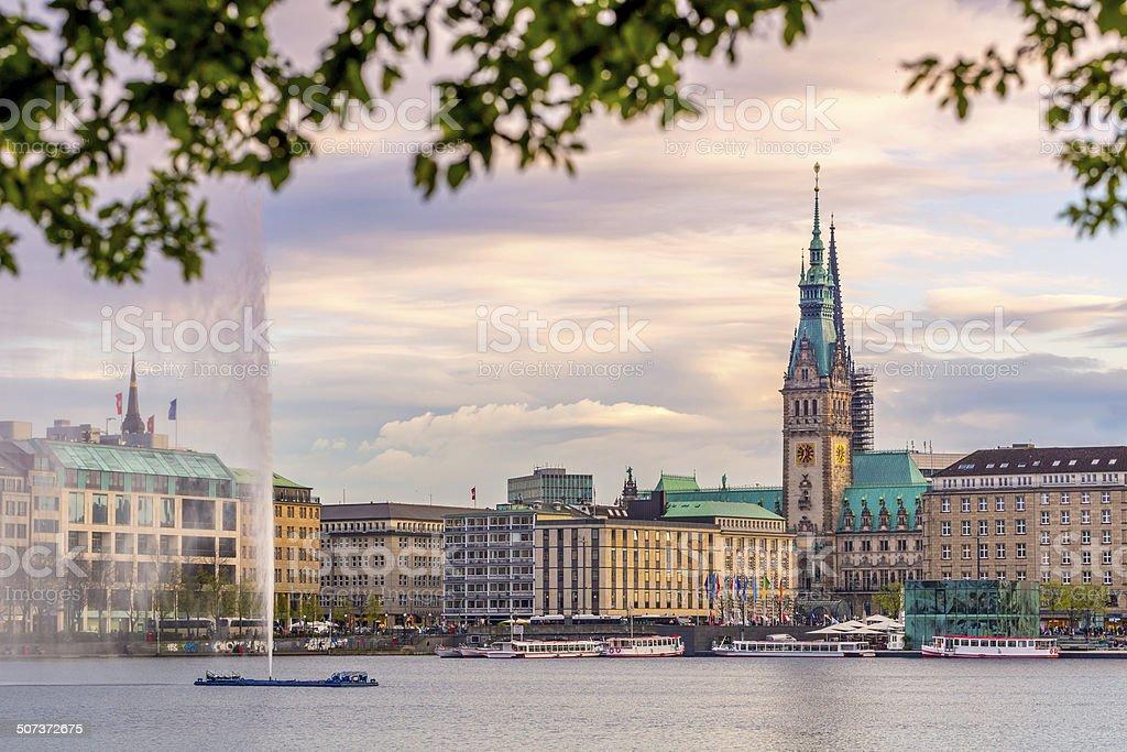 Hamburg Town hall, Alster Lake stock photo