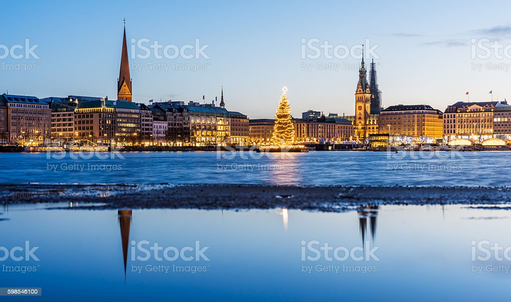 Hamburg town hall and Alster Lake with Christmas market stock photo