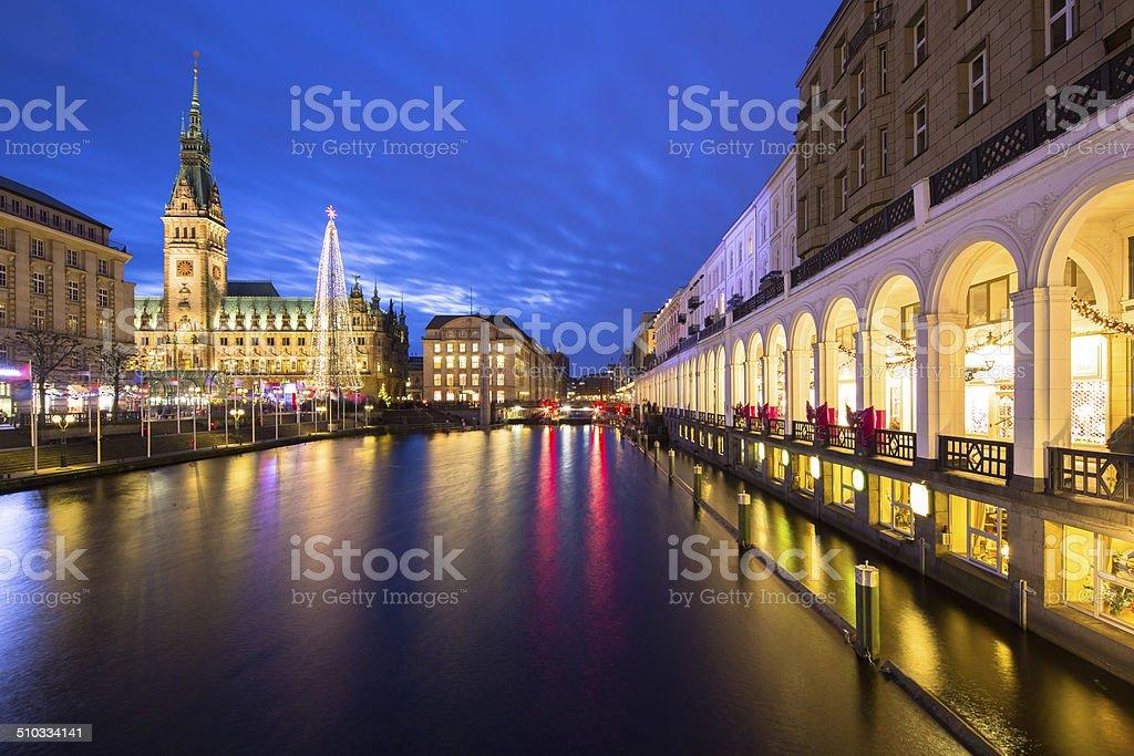 Hamburg town hall at christmas time stock photo