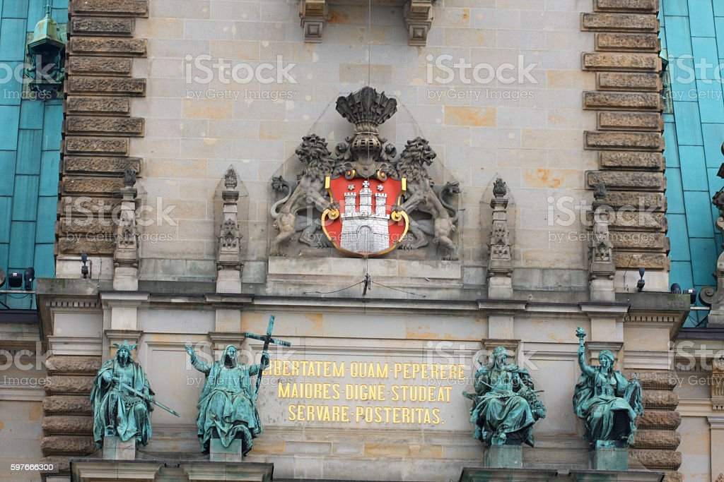 Hamburg town hall - details stock photo