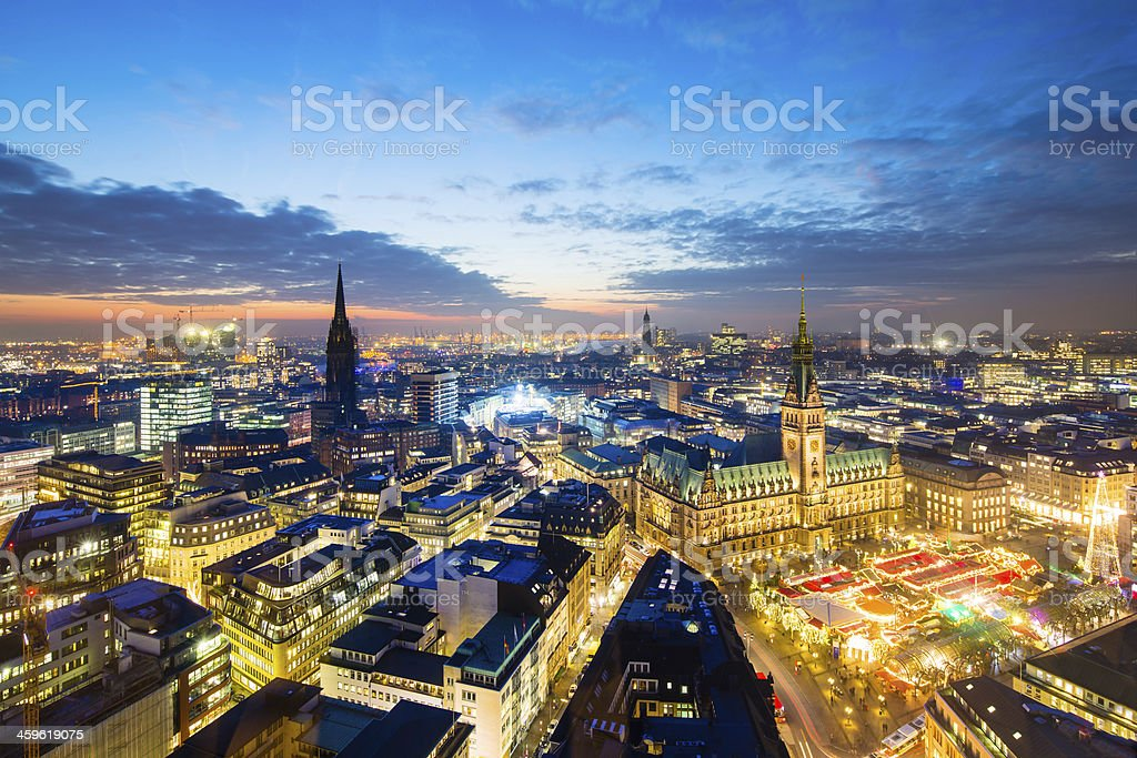 Hamburg town hall with Christmas market royalty-free stock photo