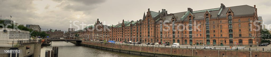 Hamburg view from the river elbe stock photo
