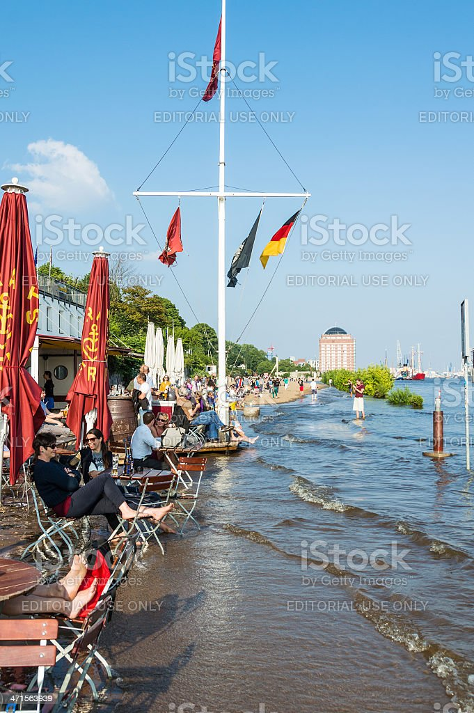 Hamburg waiting for the Flood Disaster 2013 stock photo