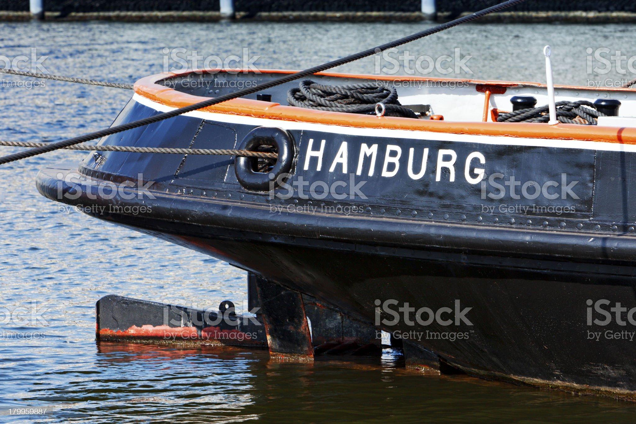 Hamburg written on historic tugboat royalty-free stock photo