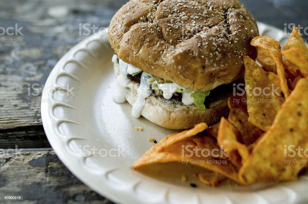 Hamburger and Chips 1 stock photo