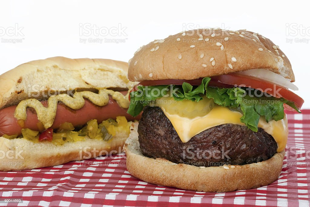 Hamburger and hotdog stock photo