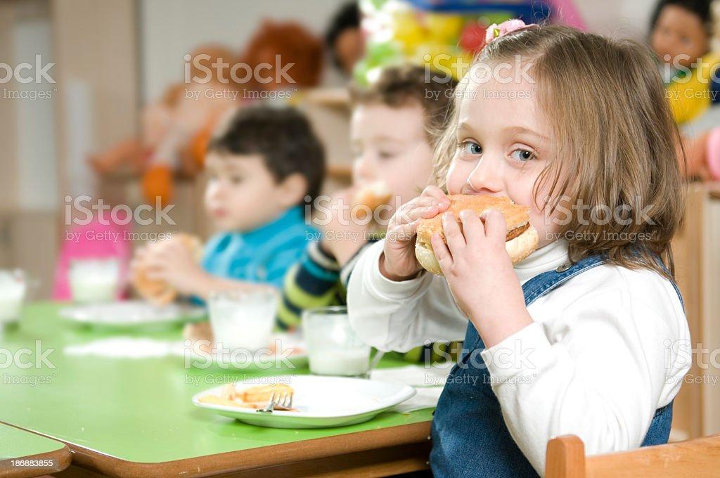 Hamburger and The Girl royalty-free stock photo