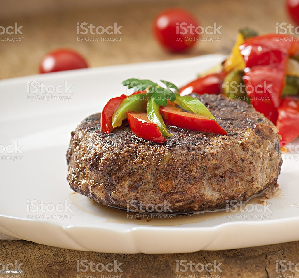 hamburger beef steak with grilled vegetable stock photo