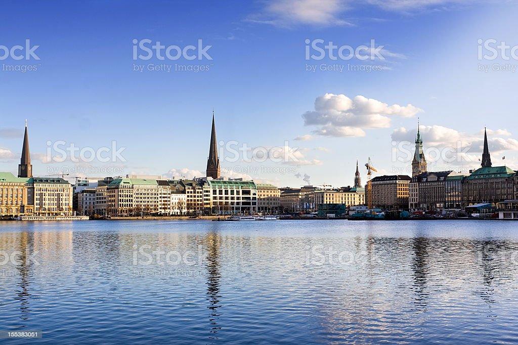 Hamburger Binnenalster - Alster Lake Hamburg stock photo