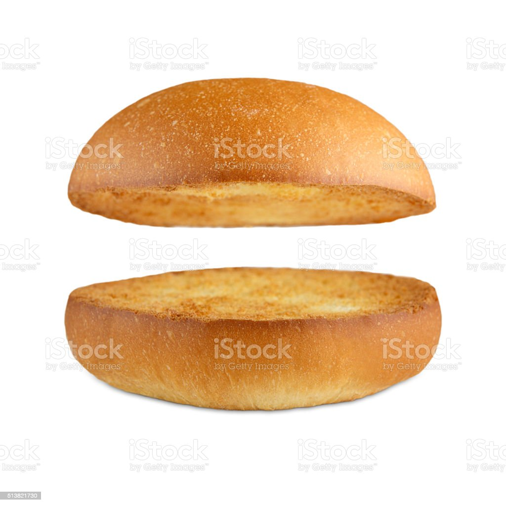 Hamburger burger empty bun isolated at white stock photo