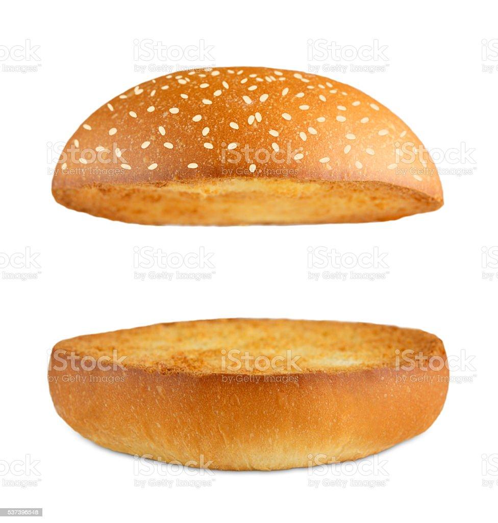 Hamburger burger empty bun isolated at white stock photo